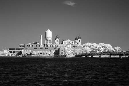 Infrared image of the Ellis Island from the Liberty Park in NJ Stock fotó