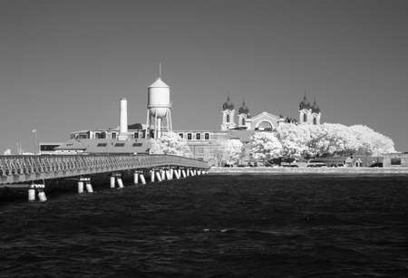 ellis: Infrared image of the Ellis Island from the Liberty Park in NJ Stock Photo