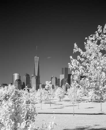 Infrared image of the Lower Manhattan from the Liberty Park in NJ
