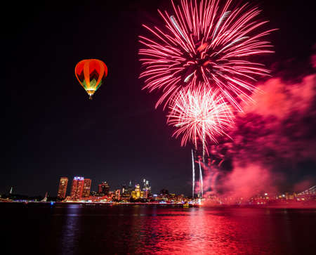 The July 4th firework over Delaware River with Philadelphia skylines