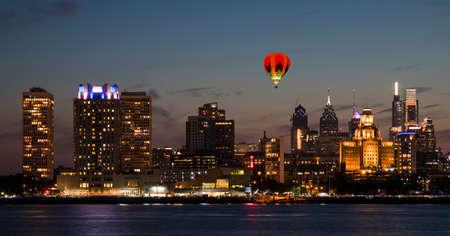 The downtown Philadelphia skylines at sun set Redakční
