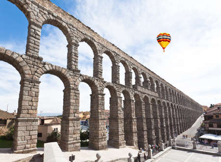 The famous ancient aqueduct in Segovia Spain 報道画像