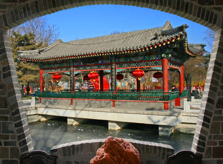 A garden which mimic the traditional southern garden in Beijing China 版權商用圖片 - 108790018