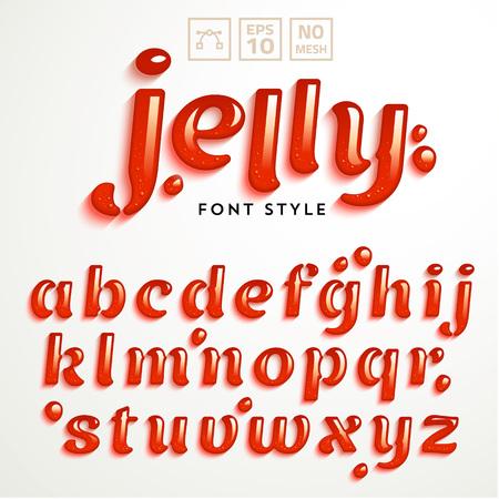 mermelada: Vector alfabeto latino hecha de gelatina de fresa. Estilo de fuente líquida.