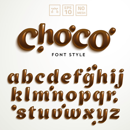 Vector latin alphabet made of chocolate. Liquid font style. Çizim