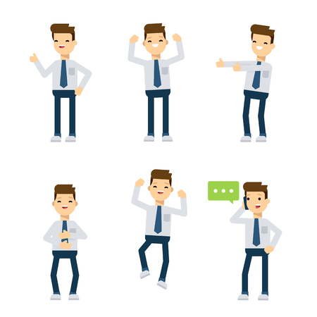 sociologist: Set of flat style vector characters: office guy being happy.