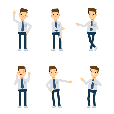 sociologist: Set of vector flat style characters: office guy pointing in different directions.
