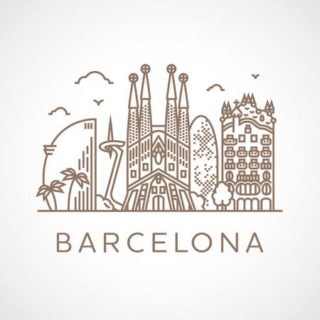 Barcelona: Trendy illustration ligne de Barcelone avec différents bâtiments et lieux d'intérêt célèbres. Design moderne vecteur line-art.