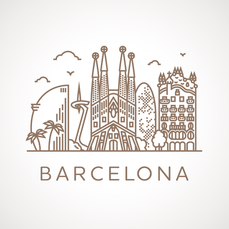 Trendy line illustration of Barcelona with different famous buildings and places of interest. Modern vector line-art design. Vettoriali