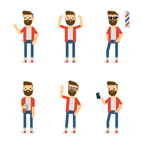 static: Set of vector flat style characters: hipster guy in different static poses. Set 1