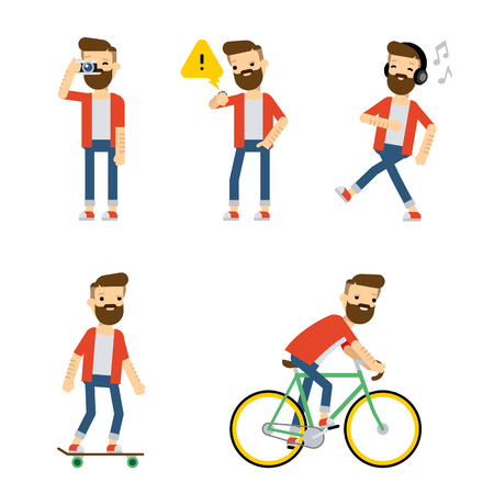 headphone: Set of vector flat style characters: hipster guy doing some activities. Set 2