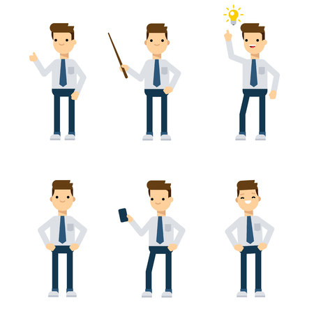 economist: Set of vector flat style characters: office guy in different static poses. Illustration