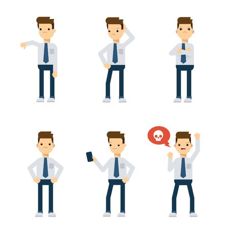 Set of vector flat style characters: office guy being upset. Illustration