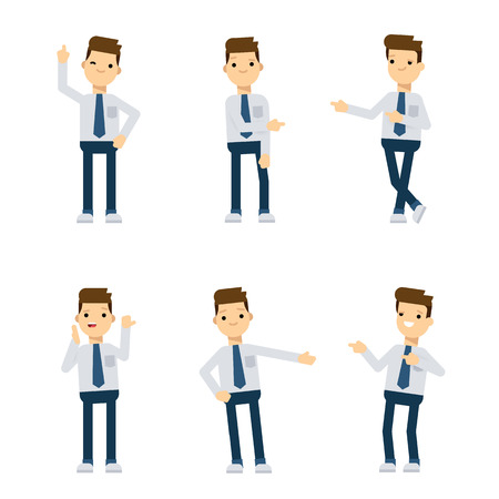 different directions: Set of vector flat style characters: office guy pointing in different directions.