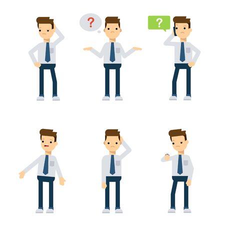 preguntando: Conjunto de caracteres de estilo plano vector: Individuo de la oficina se confunde.