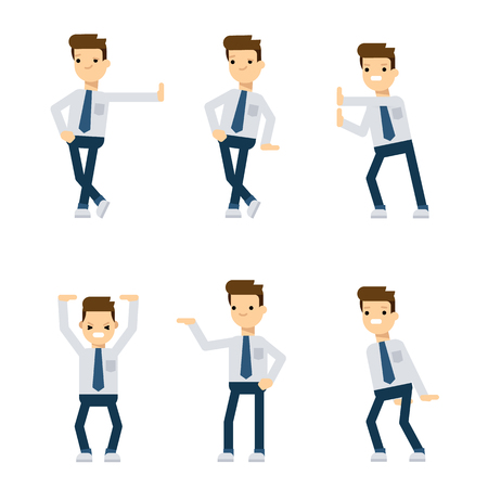 push up: Set of vector flat style characters: office guy in different poses relative to pushing and holding something. Illustration