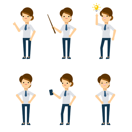 character design: Set of vector flat style characters: office lady in different poses.