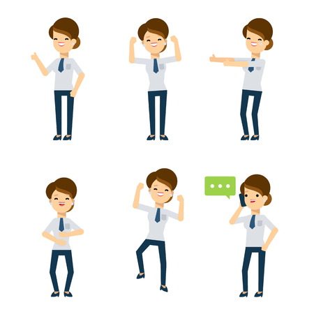woman on cell phone: Set of vector flat style characters: office lady in different poses. Lucky day, she is showing her good mood.