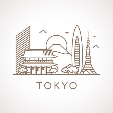 places of interest: Trendy line illustration of Tokyo with different famous buildings and places of interest. Modern vector line-art design.