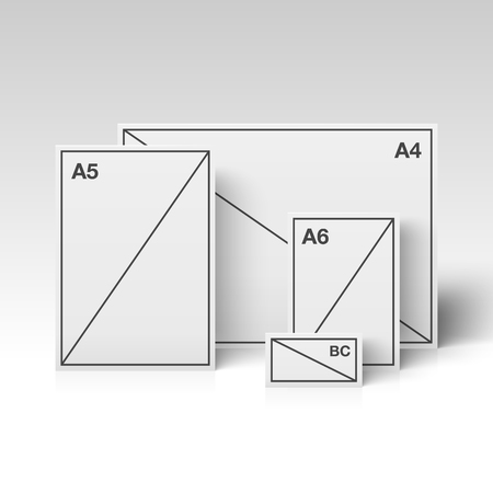canvas: Papers of different sizes standing in the white room. Vector illustration.