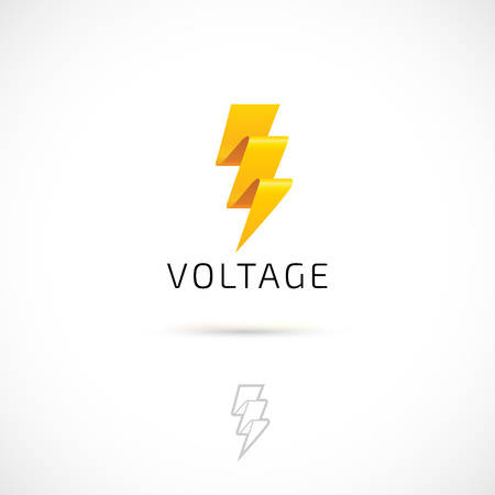 electric material: Vector logo design, yelow bolt symbol icon. Logotype template. Illustration