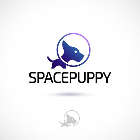 Vector logo design, space puppy symbol icon. Logotype template.