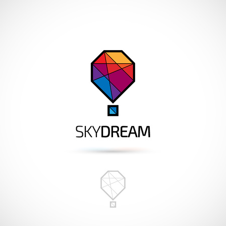 on air sign: Vector logo design, polygonal hot balloon symbol icon. Logotype template.