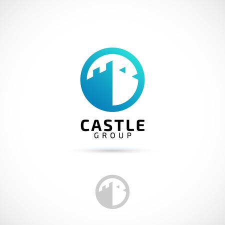 castello medievale: Vector Logo Design, castello in icona cerchio simbolo. modello di logo. Vettoriali