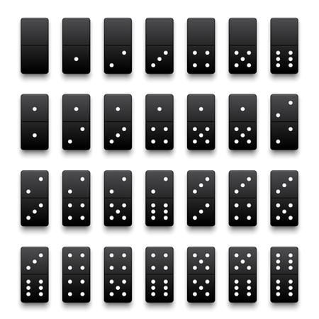 six point: Full set of realistic black domino pieces. Vector illustration.