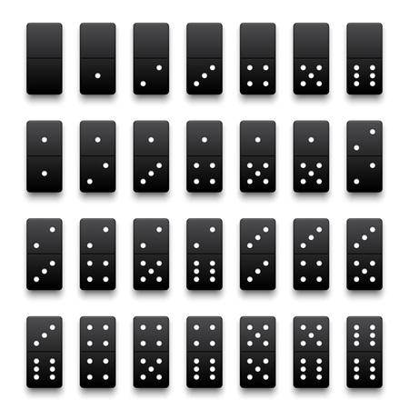 Volledige set van realistische zwarte dominostenen. Vector illustratie. Stock Illustratie