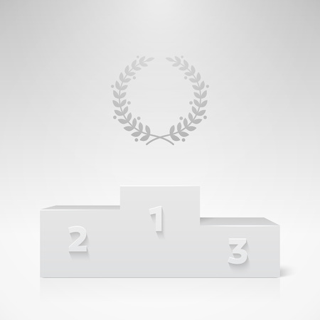 victor: White vector champion pedestal. Realistic template for your design. Illustration