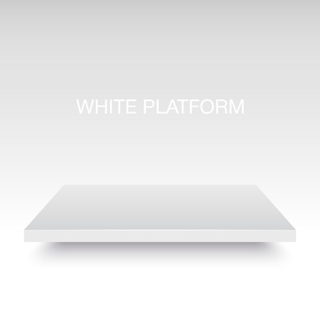 shelf: White vector platform stand. Realistic template for your design. Illustration