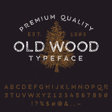 tree logo: Vector handmade font. Vintage styled grunge textured typeface. Latin alphabet letters and numbers.