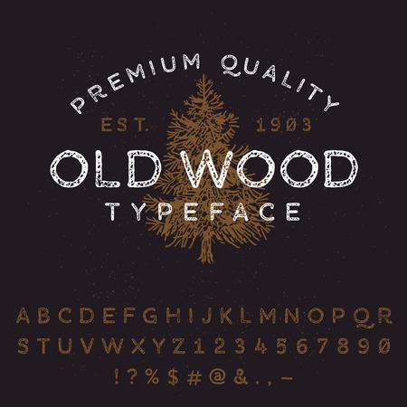 arbol de pino: Vector mano fuente. Vintage estilo grunge textura tipografía. América letras del alfabeto y números.