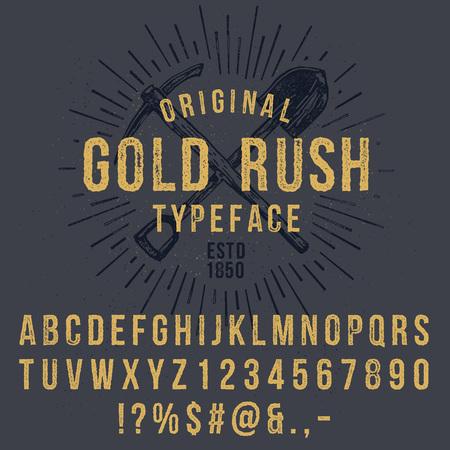 Vector handgemachte Schriftart. Vintage-Stil Grunge-Schrift texturiert. Lateinische Alphabet Buchstaben und Zahlen.