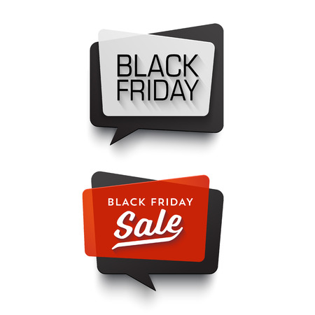 Black Friday Sale vector banner set. Nice plastic cards in material design style. Transparent black, white and red paper. Ilustração