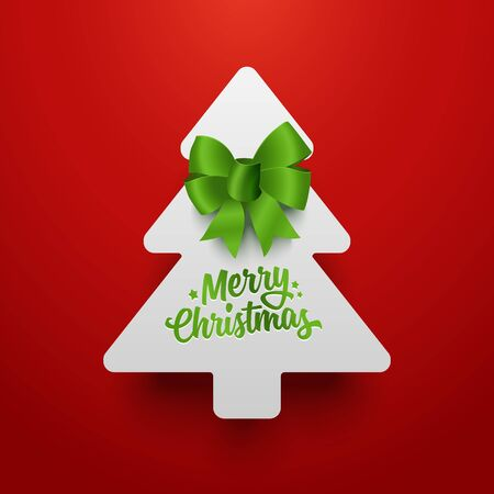 green paper: Christmas tree made of paper with green bow. Vector template.