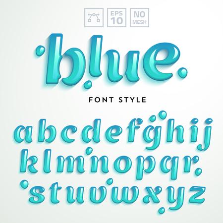 liquido: letras vector hechas de gelatina de líquido azul. alfabeto latino de la A a la Z. La tipografía realista Vivid.