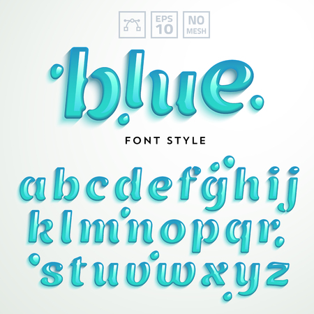 Vector letters made of blue jelly liquid. Latin alphabet from A to Z. Vivid realistic typeface.