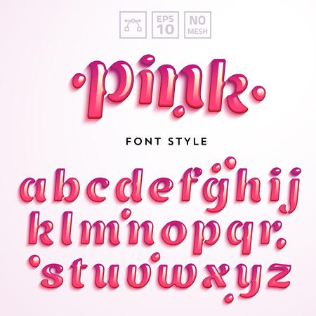 lettres vectorielles en liquide de gelée rose. alphabet latin de A à Z. caractère réaliste Vivid.