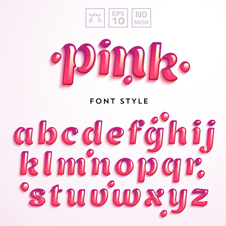 Vector letters made of pink jelly liquid. Latin alphabet from A to Z. Vivid realistic typeface.