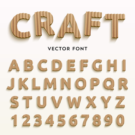 Vector cardboard letters. Realistic paper style font. Typaface made of old brown boxes. Latin alphabet and numbers from A to Z and from 1 to 0. Ilustração