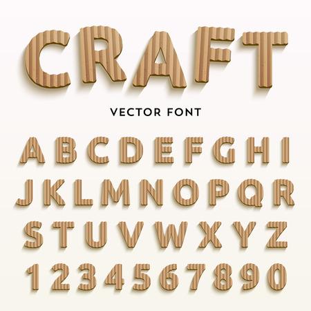 Vector kartonnen letters. Realistische papier doopvont. Typaface gemaakt van oude bruine dozen. Latijnse alfabet en nummers van A tot Z en 1-0.