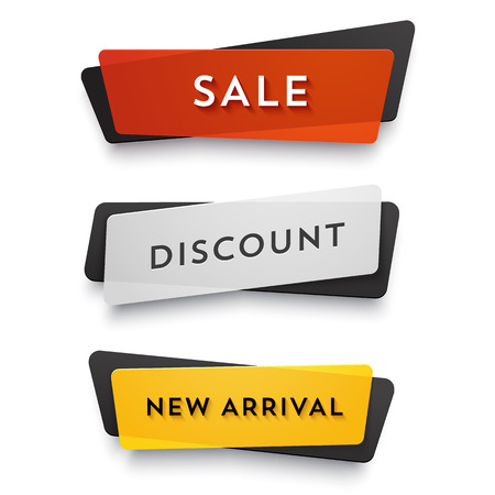 Plastik: E-Commerce-Vektor-Banner. Nizza Plastikkarten in Material Design-Stil. Transparent schwarz, wei�, rot und gelb Papier. Illustration