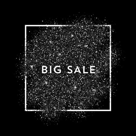 白いベクトル フレームで黒い塵をベクトルします。トレンディな抽象的な背景デザインの準備ができて。大きな販売ラベル。  イラスト・ベクター素材