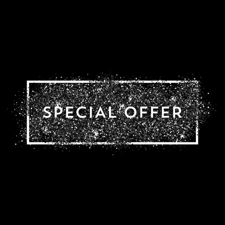 Vector black dust with white vector frame. Trendy abstract background ready for your design. Special Offer label.