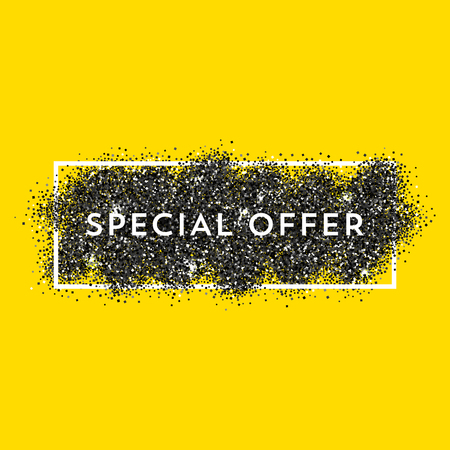black yellow: Vector black dust with white vector frame on yellow background. Trendy abstract background ready for your design. Special Offer label. Illustration