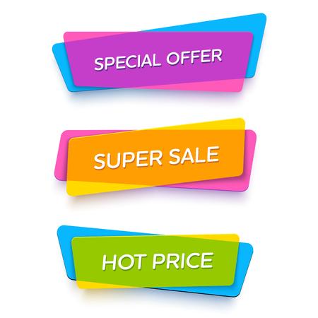 E-commerce heldere vector banner set. Leuke plastic kaarten in materiaal design stijl. Transparant zwart, wit, rood en geel papier.