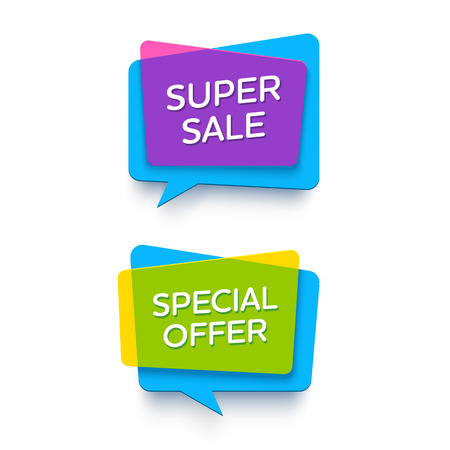 E-commerce heldere vector banner set. Mooie plastic kaarten in materiaalontwerpstijl. Transparant geel, blauw en paars papier. Stock Illustratie