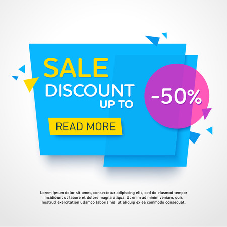 Ecommerce bright vector banner. Nice plastic cards in material design style. Transparent blue, purple and yellow paper.